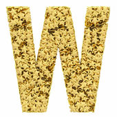 Letter W composed of golden stars isolated on white — Stock Photo