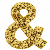 Ampersand sign composed of golden stars isolated on white — Stock Photo