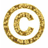 Copyright sign composed of golden stars isolated on white — Stock Photo