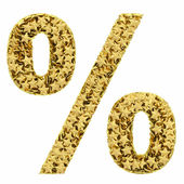 Percent sign composed of golden stars isolated on white — Stock Photo