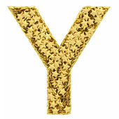 Letter Y composed of golden stars isolated on white — Stock Photo