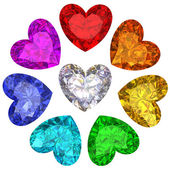 Colorful gems in shape of heart isolated on white — Stock Photo