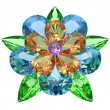 Flower composed of colored gemstones on white — Stock Photo #39334673