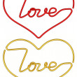 Heart shapes made of wire with love word inside isolated on white — Stock Photo