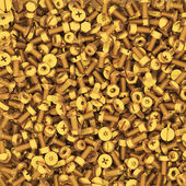 Background of multiple gold bolts and nuts — Stock Photo