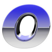 Chrome alphabet symbol letter O with color gradient reflections isolated on white — Stock Photo