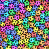 Colorful soccer balls background — Stock Photo