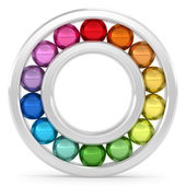 Bearing with colorful balls on white background — Stock Photo