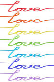 Set of colorful 'Love' words made of wire isolated on white — Stock Photo