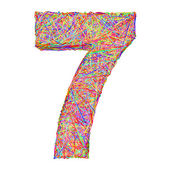 Number 7 composed of colorful striplines isolated on white — Stock Photo