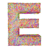 Alphabet symbol letter E composed of colorful striplines — Stock Photo