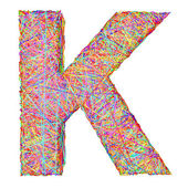 Alphabet symbol letter K composed of colorful striplines — Stock Photo