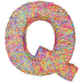 Alphabet symbol letter Q composed of colorful striplines — Stock Photo