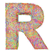 Alphabet symbol letter R composed of colorful striplines — Stock Photo