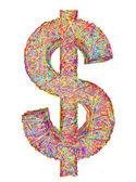 Signo de dólar compuesto de colorido striplines aislado en blanco — Foto de Stock