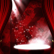 Stock Photo: Movie or theatre curtain with some glitters on it