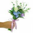 Festive bouquet in hand — Stock Photo