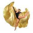 Royalty-Free Stock Photo: Dancer with golden wings on a white background.