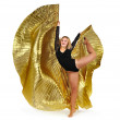Dancer with golden wings on a white background. — Foto de Stock