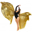 Dancer with golden wings on a white background — Stok fotoğraf