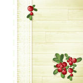 Cranberries at Wooden Background — Stock Vector