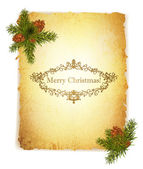 Vintage Grunge Paper With Christmas Greetings — Stock Vector