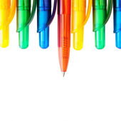 Row of the multicolored pens — Stock Photo