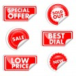 Stock Vector: Red Tags For Sale