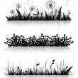 Stock Vector: Grass Banner Silhouette Set