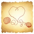 Knitting Vintage Heart — Stock Vector