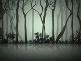 Fog Forest Near Lake — Stock Vector