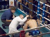 Elkun Orudzhev(blue) wounded — Stock Photo