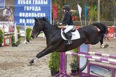 K.Kovaleva ride on horse — Stock Photo