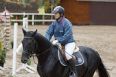 A.Klishina ride on horse — Stock Photo