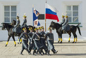 Presidential guards with flags — Stock Photo