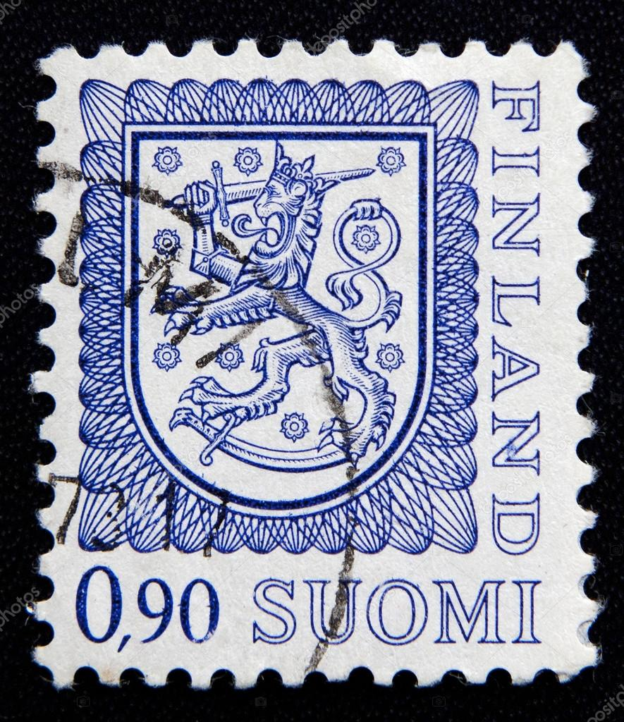 FINLAND - CIRCA 1974: stamp printed by Finland, shows Coat of arms of Finland, circa 1974 — Stock Photo #15786391