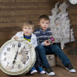 Two kids on suitcase — Stock Photo #21250027