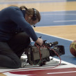 Cameraman filming ball — Stock Photo