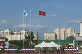 Some flags on football arena — Foto de Stock