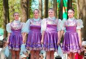National russian dresses girls — Stock Photo