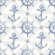 Seamless nautical background with hand drawn elements - Stock Vector