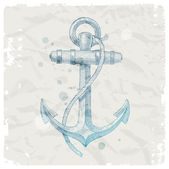 Hand drawn anchor on grunge paper background — Stock Vector