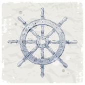 Hand drawn vector illustration - ship steering wheel — Stock Vector