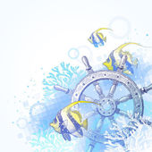 Ship steering wheel, corals and tropical fishes — Stock Vector