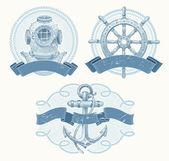 Emblèmes de vecteur nautiques avec main repris des éléments — Vecteur