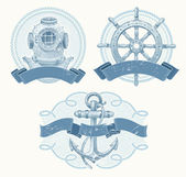 Nautical vector emblems with hand drawn elements — Stock Vector