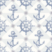 Seamless nautical background with hand drawn elements — Stock Vector