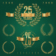 Anniversary golden emblems and decorative elements - vector illustration — Stock Vector #13152234