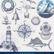 Nautical hand drawn vector set — Vector de stock #13152419