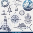 Nautical hand drawn vector set — Stock Vector